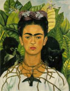 Magdalena Carmen Frieda Kahlo y Calderón (1907-1954) Autoportret z cierniowym naszyjnikiem i kolibrem